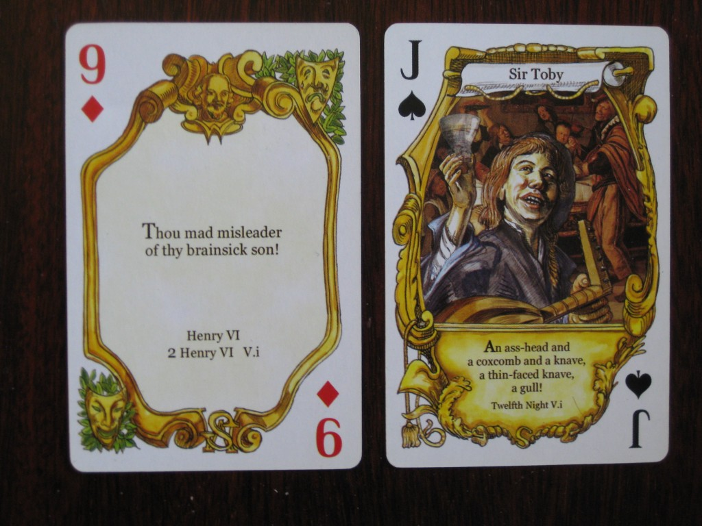 A perfect hand in baccarat. Nine = face value, picture cards and 10s = 0.