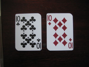 Splitting tens in blackjack.