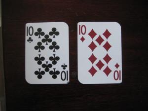 Splitting tens in blackjack.
